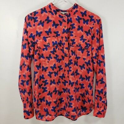a7841b879486ef Gap Womens Blouse Pink Butterfly Career Button Front Long Sleeve Top Sz XS