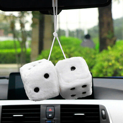 Accessories Zone Mirror Black Vintage Rear View Dice Car Hanging Plush Fuzzy New