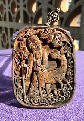 Chinese Antique Wood Carved Taoist Pendant Of Shouxing~Rare Old Collection Relic