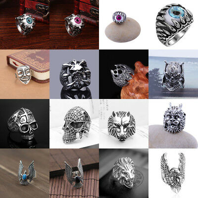 Mens Punk Cool Stainless Steel Gothic Animal Biker Rings Skull Jewelry US 8-10