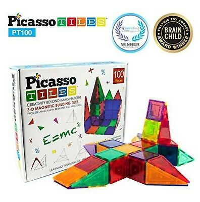 PicassoTiles 100 Piece Set 100pcs Magnet Building Tiles Clear Magnetic 3D New