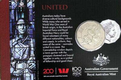 2018 ANZAC SPIRIT Collectors coin UNITED 50 Cents