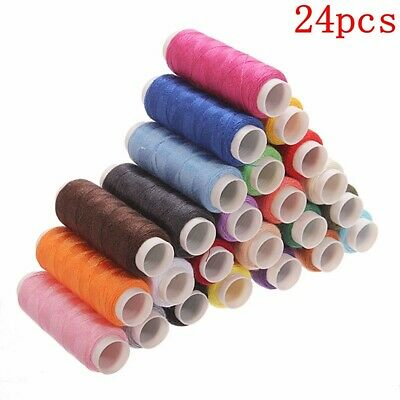 200m Spools 24 Colors Cotton Thread Reel Cord For Sewing Machine Hand Sewing