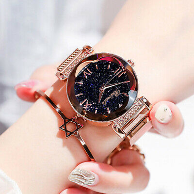 Retro Starry Sky Quartz Watch Magnet Strap Free Buckle Stainless Steel Women UK