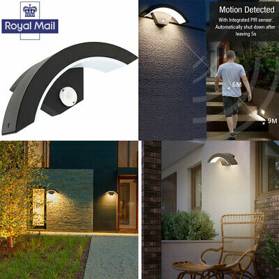 PIR Motion Sensor Outdoor LED Light Garden Porch Wall Security Curve Light