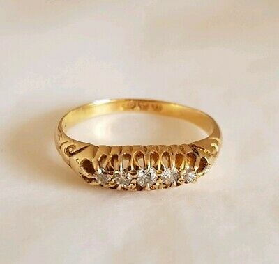 Victorian 18ct Yellow Gold Ring.Claw set with Old cut Diamonds. Birmingham 1894