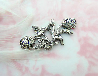 ANTIQUE SILVER Floral Flourish Bar Rose Flower Stamping Oxidized (CA-3088)