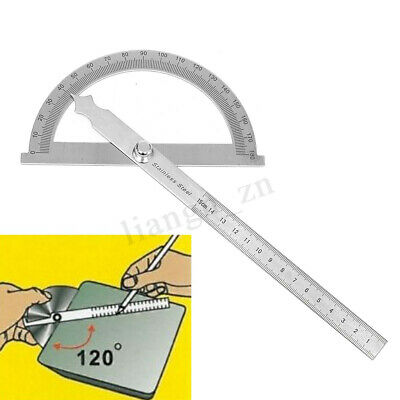 180 degree Detachable Stainless Round Head Rotary Protractor Ruler Measuring