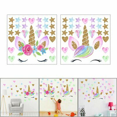 Creative Unicorn Stars Wall Stickers Girls Bedroom Flowers Decals Decor Cute GN