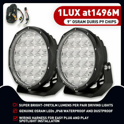 Pair 9 inch CREE LED SPOT Driving Lights 4X4 Round Spotlights Black Ute 99999W