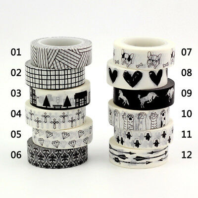 Decor Washi Tape Set of 12 Black & White - Great for Planners Scrapbooking Bujo