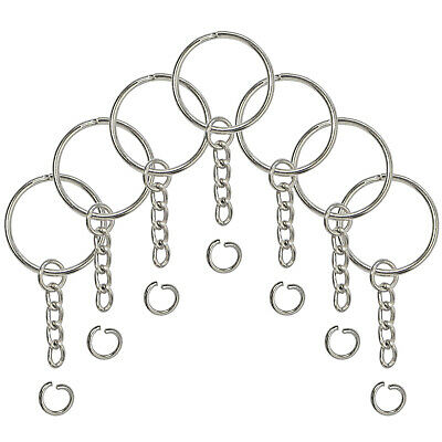 Split Key Ring with Chain Open Jump Ring and Screw Eye Pins 1 Inch Key Chain