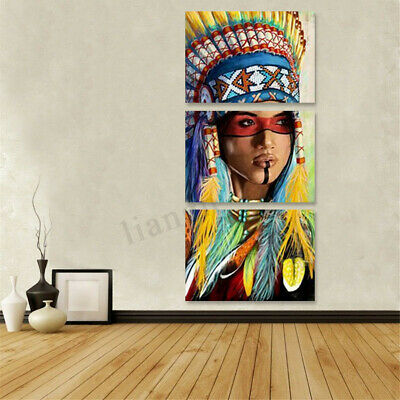 3pcs Abstract Indian Woman Canvas Art Print Oil Painting Wall Picture Framed