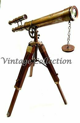 "18"" Antique Brass Double Barrel Nautical Telescope with Wooden Tripod Stand"