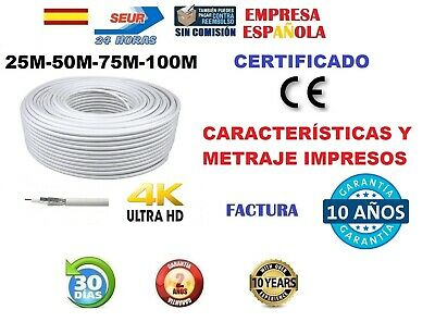 Cable Coaxial Para Antena Tv O Satelite 25M 50M 100M Rg6 75 Ohm Tdt Sat 24 Horas