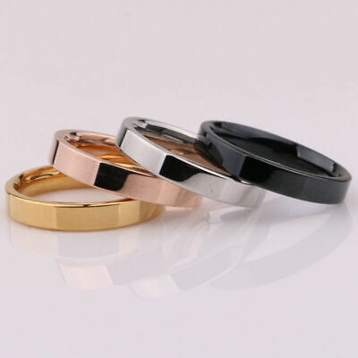 Silver/Gold/Rose Men's Steel Gold/Black Ring Engagement Titanium 3mm Women Band