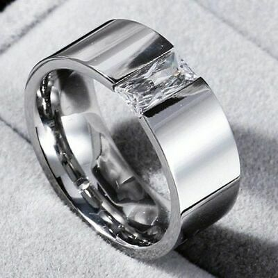 Silver CZ 316L Ring Stainless 8mm Size 6-12 Single Men Band Steel Smooth Women's