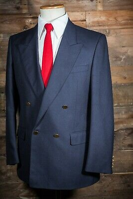 Tailored Fit Double Breasted Navy Blazer 40S M&S Brass Buttons