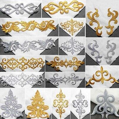 1Pc Floral Cosplay Costume Trims Iron Sew On Embroidery Patch Lace Applique DIY