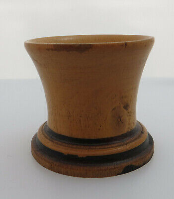 Vintage Treen Wooden / Turned Wood Egg Cup Or Perhaps Dice Shaker - Knot In Wood