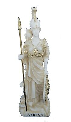 Athena statue ancient Greek Goddess of wisdom and strategy active sculpture aged
