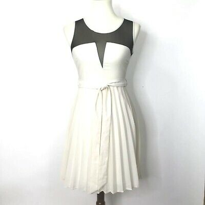 YA Los Angeles Womens Fit & Flare Dress Ivory Black Sheer Plunge Pleats Belted S