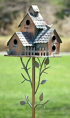 Large Copper Colored Multi-Birdhouse Stakes, Room for 4 Bird Families in Each