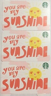 "Lot 3 Starbucks ""You're My Sunshine"" 2019 Recycled Paper gift card set NEW!"