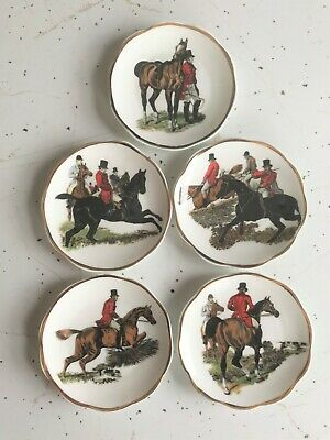 5 Crown Victorian Staffordshire Fox Hunt Horse Hounds Small Trinket Plates
