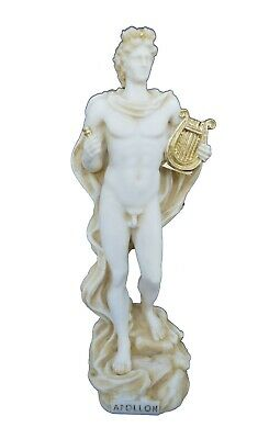 Apollo statue ancient Greek God of sun and poetry active sculpture aged