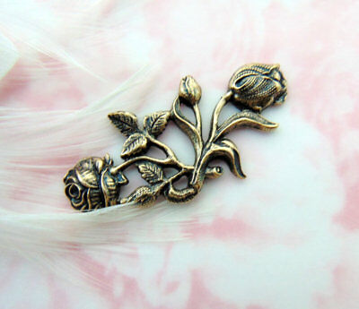 ANTIQUE BRASS Floral Flourish Bar Rose Flower Stamping Oxidized (CA-3088)