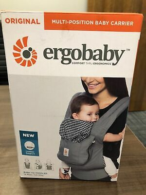 Original Ergo Baby Carrier with Lumbar Support (Steel Plaid) - NEW/NEVER USED