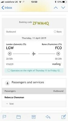 One Way Flight To Rome (FCO) From London Gatwick (LGW) - 11/04/19