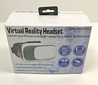 Wireless Gear Virtual Reality Headset- White-iPhone/Android-360 Deg.Immersive 3D