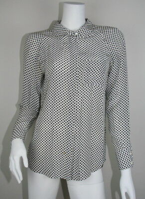 b5faaed35eb132 Equipment Femme Black Gray White Silk Button Down Long Sleeve Blouse S 4 6  SM