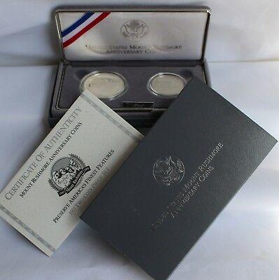 1991 Silver US Mint Mount Rushmore 2 Coin PROOF 90% Dollar and Half Set