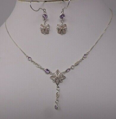 #7 Sterling Silver 925 Necklace & Drop Earring Boxed Set - Filigree & Amethyst *