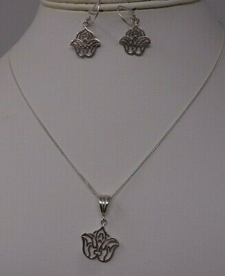 #8 Sterling Silver 925 Necklace & Drop Earring Boxed Set - Lotus Flower Boxed *