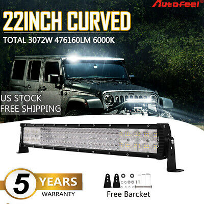 "Quad Row 22inch 3072W Curved LED Light Bar Spot Flood Offroad Driving 4WD 20""/24"