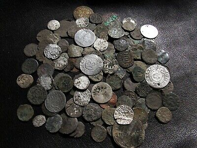 110 Medieval Coins lot Silver and Bronze XIV-XVII century