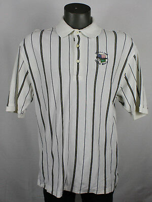 4f939bac Vintage Tommy Hilfiger 2000 US Open Pebble Beach Crest Striped White Polo  Shirt