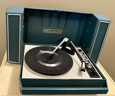 Restored Silvertone Record Player Blue Fold Up Portable Turntable See Video Demo