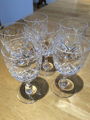 "? Stuart Crystal Cut Glass Sherry Glasses x 6 ex.con.very sparkly design ,4""tall"