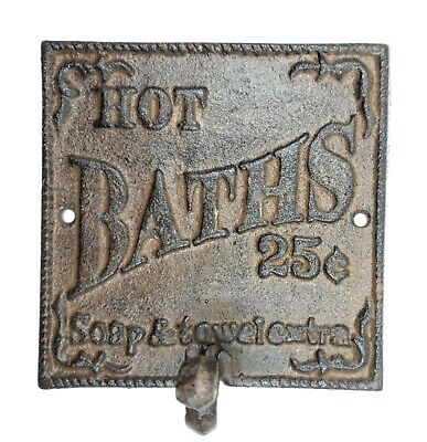 Rustic Hot Bath Sign Hook Farmhouse Primitive Wall Bathroom Decor