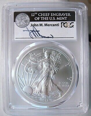 2012-W Silver Eagle Burnished First Strike PCGS SP-70 Mercanti Signed