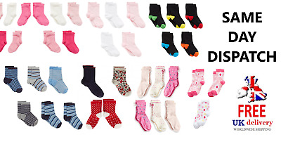 UK Toddler Socks 4-7 Years Girls/Boys Cotton Socks Designer Plain & Pattern LOT