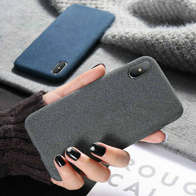 For iPhone XS Max XR 6s 7 8 Plus Case Fabric Texture Soft Shockproof Matte Cover