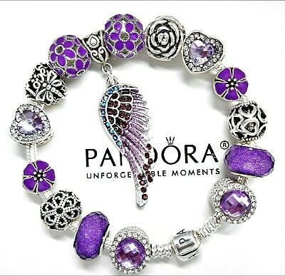 Authentic Pandora Silver Charm Bracelet ANGEL WING HEART & Purple European Beads