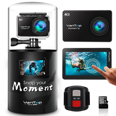 VanTop Moment 4 4K 20MP 30M Waterproof Action Camera with Touch Screen, Remote,
