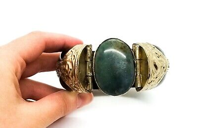 VTG Ethnic Tribal Ebony Wood Silver Dendritic Moss Agate Stone Bangle Bracelet